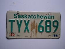 1988 1989 SASKATCHEWAN CANADA WHEAT License Plate TYX 689 Can