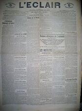 WW1 COMMUNIQUéS DE GUERRE ITALIE INCIDENT D'HODEÏDAH L'ECLAIR DU MIDI 14/12/1914