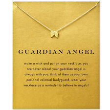 Women Gold Plated Angel Wings Pendant Clavicle Chain Necklace Jewelry Retro
