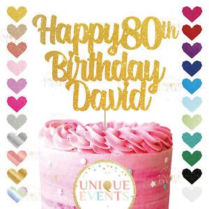 Happy 80th Birthday Cake Topper Custom Name Glitter Any Age Name Eighty 80 90