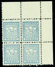 ICELAND 1939 10aur Greidslumerki Revenue Block of 4, og, NH, VF