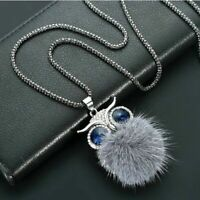 Sweater chain Gift Women Tassel Pendant Rhinestone Owl Fur Long Necklace Crystal