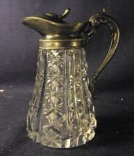 Cut glass Syrup pitcher molasses can zipper prizm crosshatched silverplate ABP