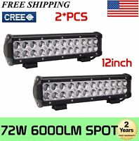 2X 12'' inch 72W CREE Spot LED Light Bar Work 4WD Car ATV UTV Truck Driving UTE