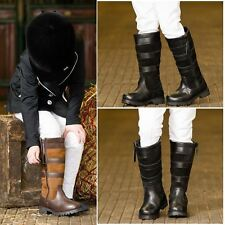 New Childs Pony Horse Riding Waterproof Leather Country Stable Yard Long Boots