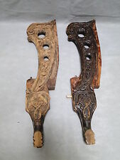 Pair of Carved Mahogany Wood Legs
