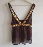 BNWT Ladies Topshop Brown & Gold Top Size 12 <EE225