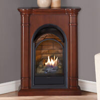 Duluth Forge Dual Fuel Ventless Gas Fireplace Vent Free 15,000 BTU,Walnut Finish