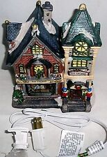 "CHRISTMAS VILLIAGE LIGHTED TOY SHOPPE  6.25""L x 4.625""W x 7.25""H  Ceramic"
