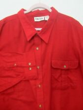 Mens $49 5XL XXXXXL NEW NWOT King Size Flannel Shirt Red Long Sleeve Two Pocket