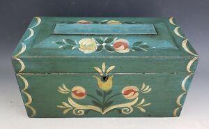 Antique Country Pennsylvania Dutch Paint Decorated Bride's Keepsake Box Folk Art