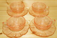"Jeannette Cherry Blossom Pink (4) CHILDS  Cups, 1 1/2"" & (4) Saucers, 4 5/8"""