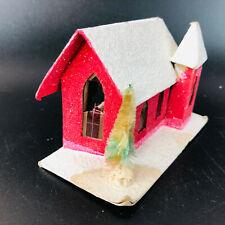 Vintage Red Christmas Cardboard Putz House Church Festive Holiday Decor