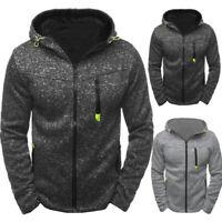 Men's Hoodie Fleece Zip Up Hoodie Jacket Sweatshirt Hooded Zipper Outwear Top