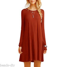 New Women Casual Cewneck Long Sleeve Dress Solid Color Loose Slim Dress