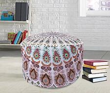 White boho decorative ottoman pouf cover Cotton mandala Floor Pillow Footstool