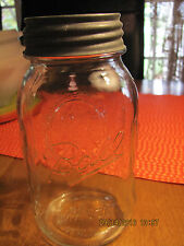 1 Quart Clear Ball Mason Jar With #8 on the Base Genuine Ball Sculptured Glass