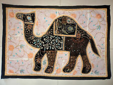 HANDMADE CAMEL BOHEMIAN PATCHWORK WALL HANGING EMBROIDERED VINTAGE TAPESTRY C 15