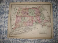 Antique 1874 Massachusetts Rhode Island Connecticut Map Barnstable County Boston