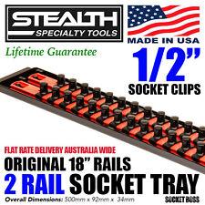 "STEALTH 2 x 18"" Rails Socket Organiser 1/2"" Twist Lock Tool Tray Holder Secure"