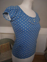 TopShop Petite baby blue x white spotty cotton T-shirt S