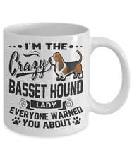 CRAZY BASSET HOUND LADY MUG, BASSET HOUND WHITE COFFEE MUG,