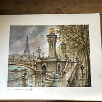 1981 PARIS FRANCE CHARDON SOUVENIR PRINT Eiffel Tower Alexander III 14X17