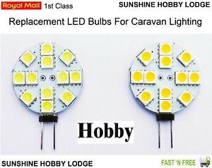 G4 12 SMD 5050 12V DC 2W LED Disc Bulbs For Hobby Caravans Warm / Cool White UK