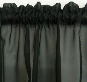 1.90m w x 80cm drop BLACK Voile Sheer Curtain Bathroom Kitchen Caravan Laundry