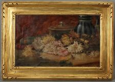 Antique Arts Crafts Carved Gilt Wood Frame Chrysanthemum Still Life Oil Painting