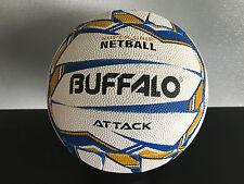 Brand New Buffalo Premium Grade Rubber White/Blue/Gold Size 5 Netball Attack