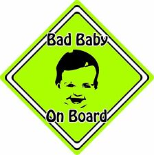 Bad Baby/Child On Board Car Sign ~ Baby Face Silhouette ~ Neon Green