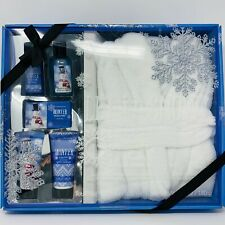 Simple Pleasures Winter Snow Plush White Robe Bath Set, Blue Snowman Gift Box