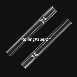 2X Reusable Clear Pyrex Glass Tobacco Pipe Chillum One Hitter fits some dugouts