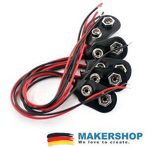 5x 9 Volt Batterie Clip - Block Anschluss Kabel für 9V Blöcke Stecker Arduino...