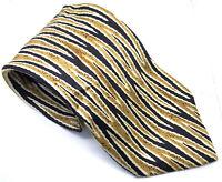 "Rinaldo Gambini Men's Tie Blue Gold Abstract 100% Silk 3.75"" Width 61"" Length"