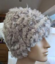 natural grey real genuine rabbit fur wool knitted hat head warmer unisex