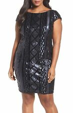 ADRIANNA PAPELL CABLE SEQUIN SHEATH NAVY DRESS sz 14 W