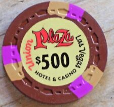 $500 VINTAGE R9 1st EDT GAMING CHIP FROM THE UNION PLAZA CASINO LAS VEGAS
