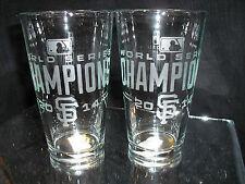 2014 WORLD SERIES CHAMPION SAN FRANCISCO GIANTS 2 ETCHED 16 oz PINT GLASSES NEW