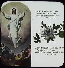 Glass Magic Lantern Slide CHRISTIAN RELIGIOUS TEXT NO5 C1900 WITH FLOWERS