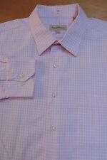 TOMMY BAHAMA Cotton White w Pink Mini Grid Check 1 Pocket Shirt 17 1/2 34 / 35