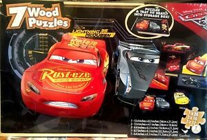7 Wooden Puzzle Set with Tray 108 Pieces With Rust-eze & Dinoco from Cars 3