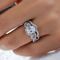 Certified 2.95Ct Pear Cut Diamond Engagement/Wedding Ring Sets 14K White Gold