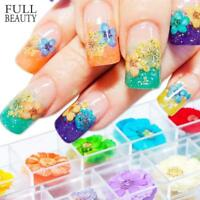 3D Dried Flowers Nail Art Sticker Colourful Tips for UV Gel Acrylic Nail Decor