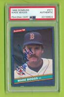 1986 Donruss Auto - Wade Boggs (#371)  Red Sox  PSA/DNA