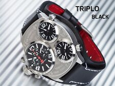 DETOMASO TRIPLO DT2038-A: Chronograph, 3 Time Zones, Stainless Steel. New!