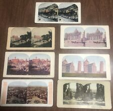 Vintage Stereoview Card Lot of 7 Italy - Rome Tivoli Island of Crete Pisa Church