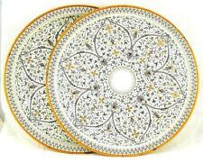 "2-Tin Trays Old World Venetian Vtg Decorative Fabcraft White Gold 13.5"" Round"
