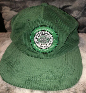LIMITED EDITION OFFICIAL COOPERS PALE ALE GREEN CORDUROY SNAPBACK FLAT CAP HAT